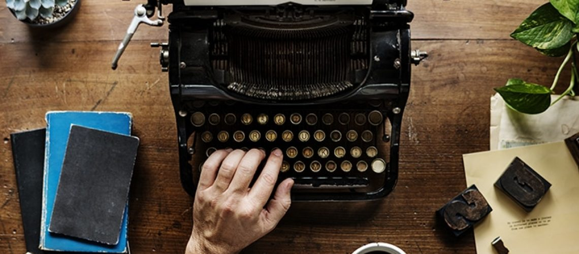 Hand Typing Retro Typewriter Machine Work Writer